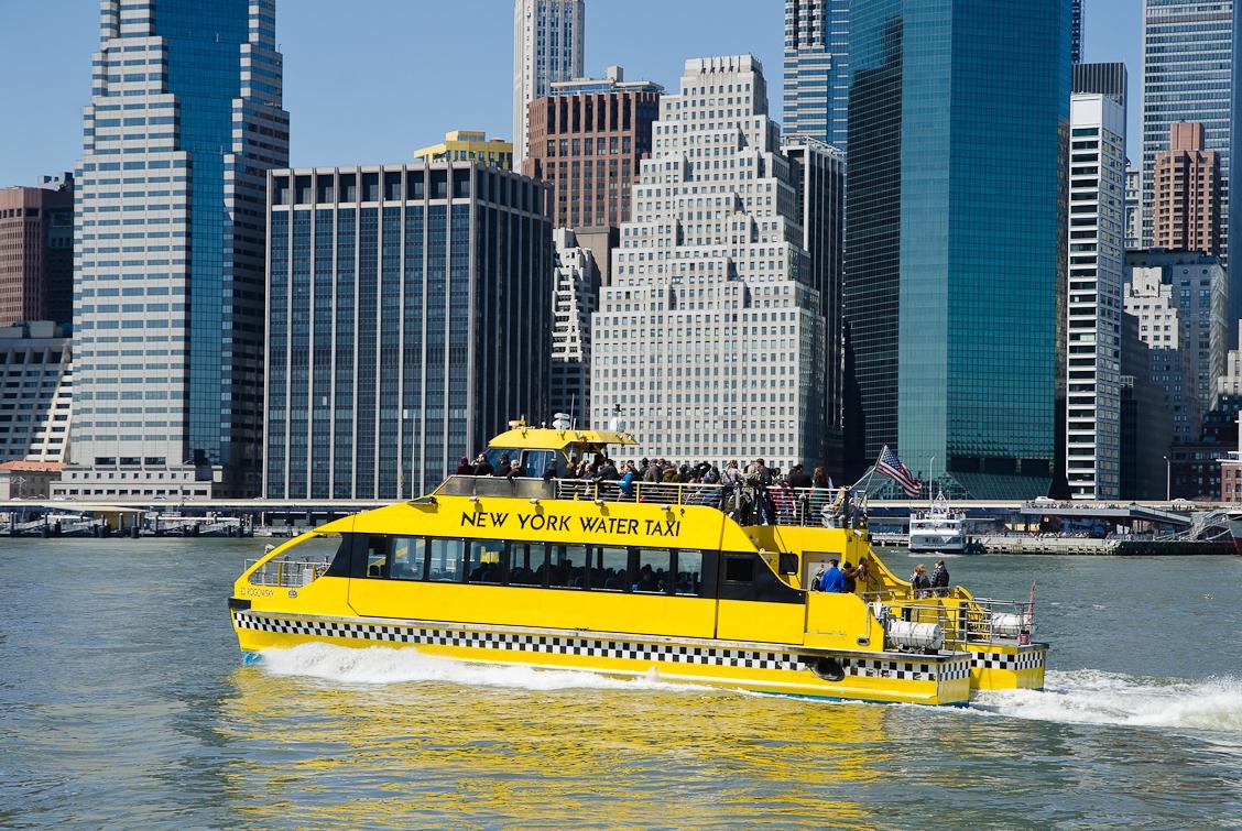 New York, Brooklyn, Manhattan view, Yellow boat